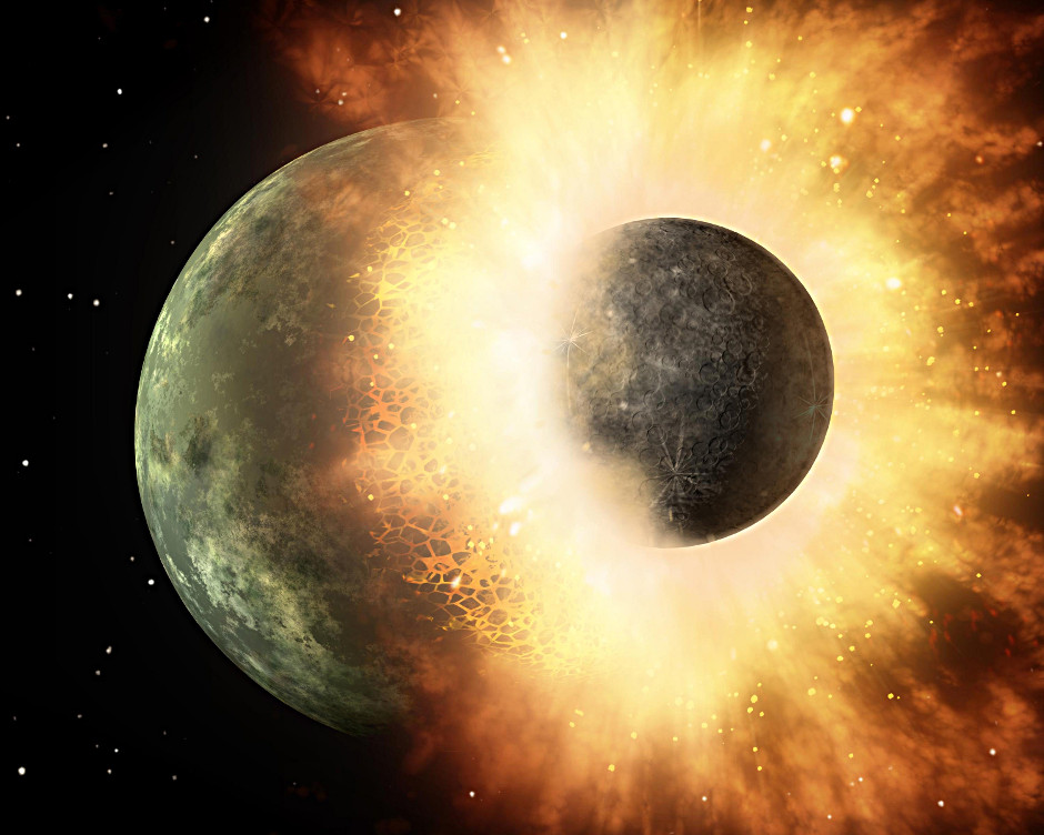 Moon was produced by head-on collision between Earth and ...