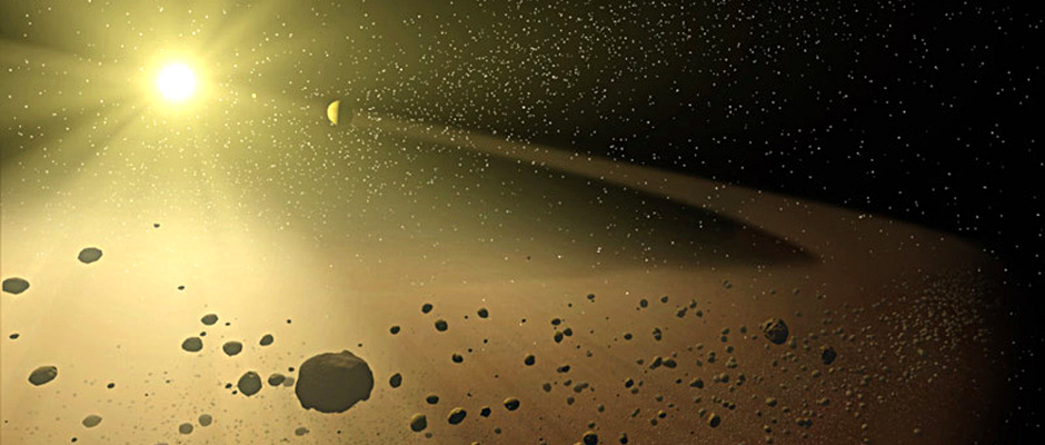 Artist's impression of a cosmic ocean of millimetre-sized particles known as chondrules that orbited the young Sun. Image credit: NASA/JPL-Caltech