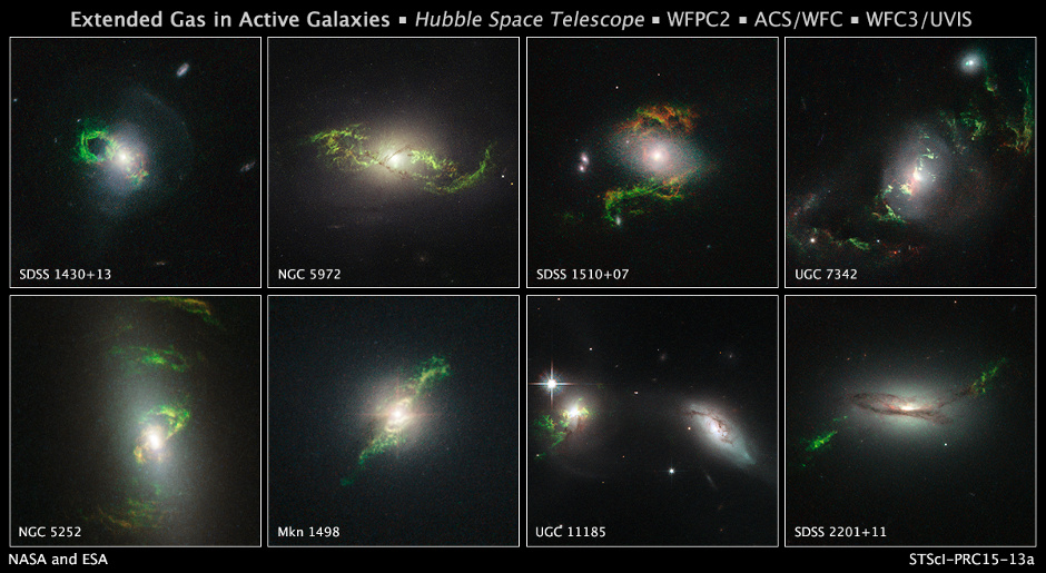 These Hubble Space Telescope images reveal a set of bizarre, greenish, looping, spiral, and braided shapes around eight active galaxies. These huge knots of dust and gas appear greenish because they are glowing predominately in light from photoionised oxygen atoms. Each galaxy hosts a bright quasar that may have illuminated the structures. The ethereal wisps outside the host galaxies were blasted, perhaps briefly, by powerful ultraviolet radiation from a supermassive black hole at the core of each galaxy. Material falling into the black hole was heated to a point where a brilliant searchlight beam traveled into deep space. Image credit: NASA, ESA, and W. Keel (University of Alabama, Tuscaloosa)