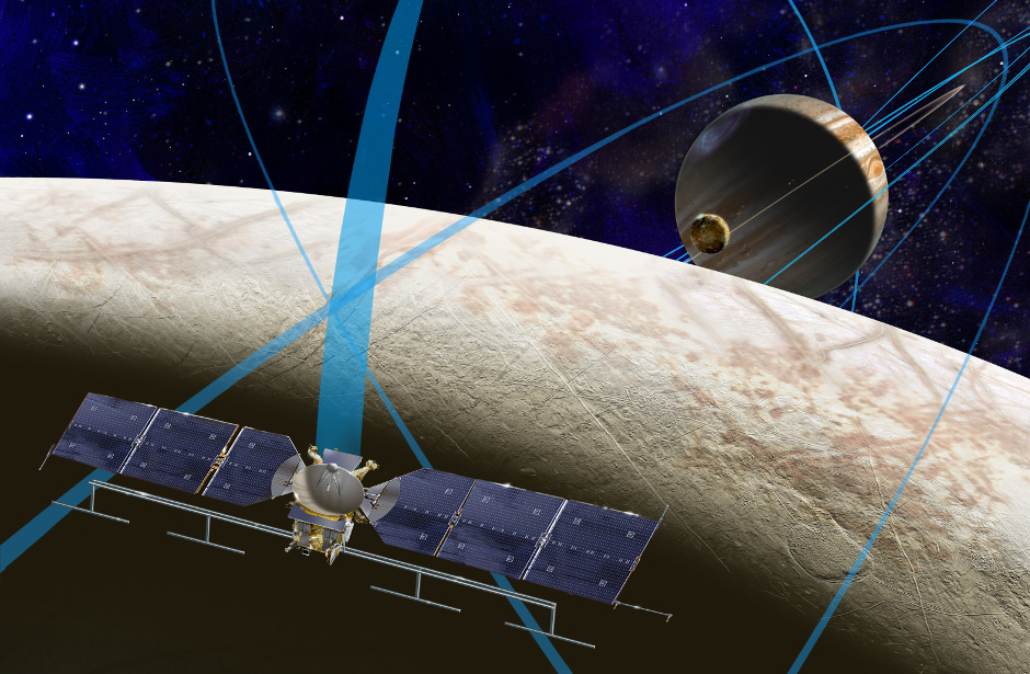 This artist's rendering shows a concept for a future NASA mission to Europa in which a spacecraft would make multiple close flybys of the icy Jovian moon, thought to contain a global subsurface ocean. Image credits: NASA/JPL-Caltech.