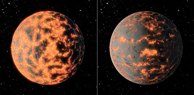 Artist's impression of super-Earth 55 Cancri e, showing a hot partially-molten surface of the planet before and after possible volcanic activity on the day side. Image credit: R. Hunt