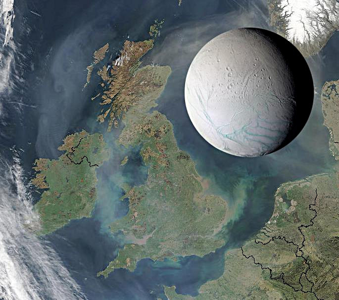 Saturn's moon Enceladus is only 314 miles (505 kilometres) across, small enough to fit within the length of the United Kingdom, as illustrated here. Image credit: NASA/JPL/Space Science Institute.