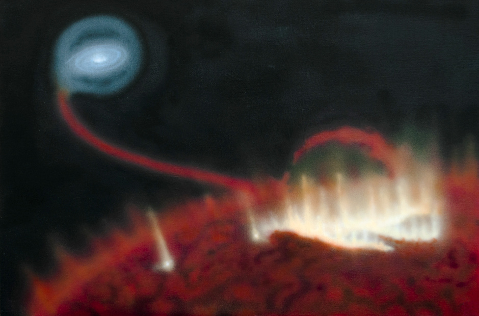 Artist's impression of a giant flare on the surface of red giant Mira A. Behind the star, material is falling onto the star's tiny companion, Mira B. Image credit: Katja Lindblom, CC BY-NC-ND 4.0