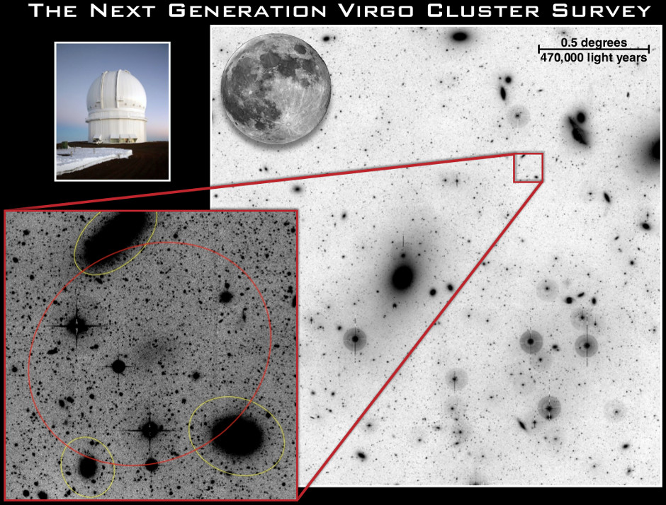 Example of a Low Surface Brightness Galaxy in the Virgo cluster. These galaxies are very hard to detect and the LSB mode of MegaCam on the 3.6-metre optical/infrared Canada-France-Hawaii Telescope enabled the possibility of such detections. Image credit: CFHT Corporation.
