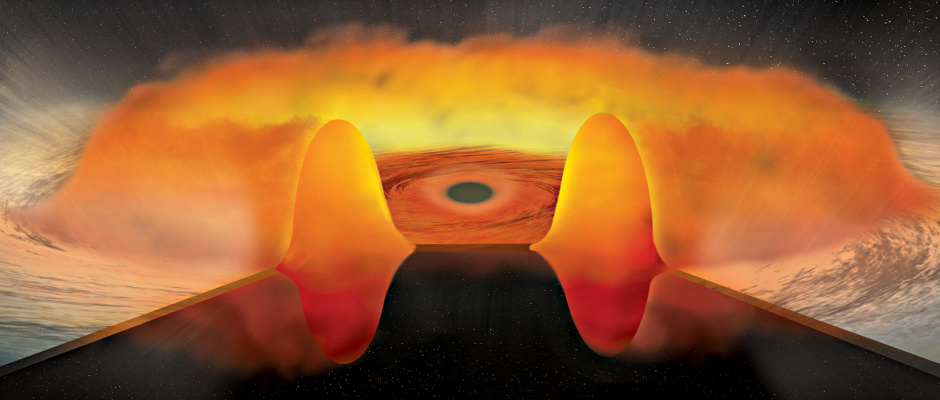 """A new study of 51 distant quasars using NASA's Chandra satellite reveals a population of black holes that consume excessive amounts of matter. The artist's illustration shows how a thick, donut-shaped disc around the black hole blocks a substantial amount of the X-rays that would otherwise escape the system. The important implication of these """"thick-disc"""" quasars is  that they may harbour black holes growing at an extraordinarily rapid rate. Image caption: Chandra X-ray Observatory ACIS."""