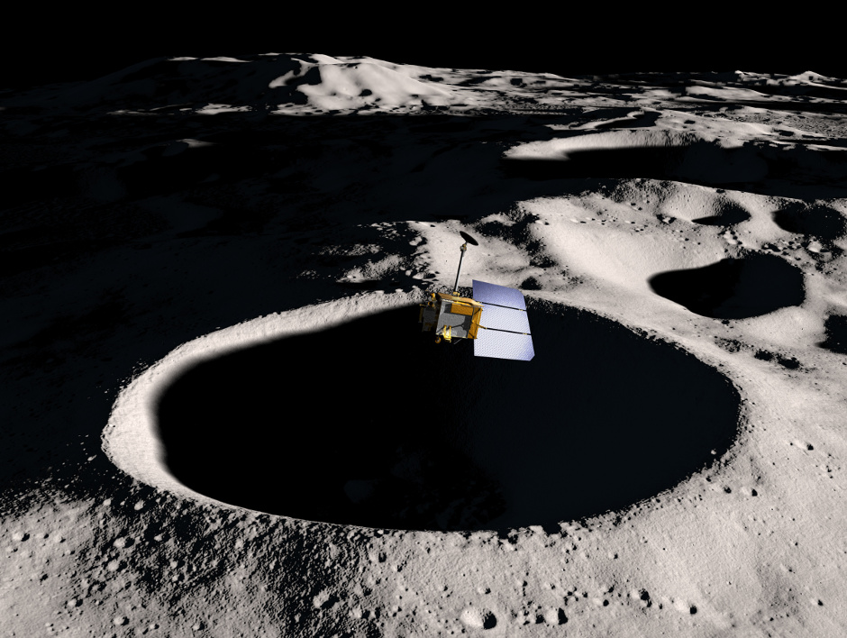 This image is a visualisation of NASA's Lunar Reconnaissance Orbiter as it passes low over the Moon's surface near the lunar South Pole. From this vantage point LRO will continue to make detailed measurements of the lunar surface, and now from its lower orbit near the South Pole will make unique observations of selected areas. Image credits: NASA/GSFC/SVS.