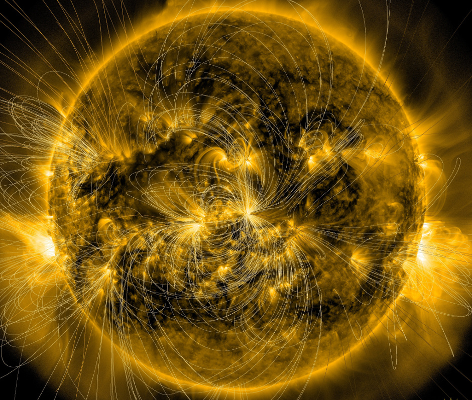 This image of the Sun from January 7th, 2014, combines a picture captured by NASA's Solar Dynamics Observatory, or SDO, with a model of the magnetic field lines using data that is also from SDO. A new model based on such data may one day help space weather forecasters better predict how eruptions from the Sun will behave at Earth. Image credits: NASA/SDO/LMSAL.
