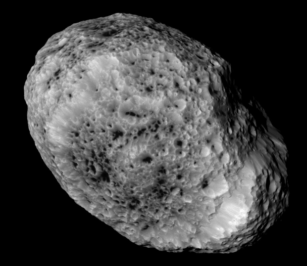 Hyperion, Saturn's oddball moon. Image credit: Close-up of Hyperion. Image credit: NASA/JPL-Caltech/SSI