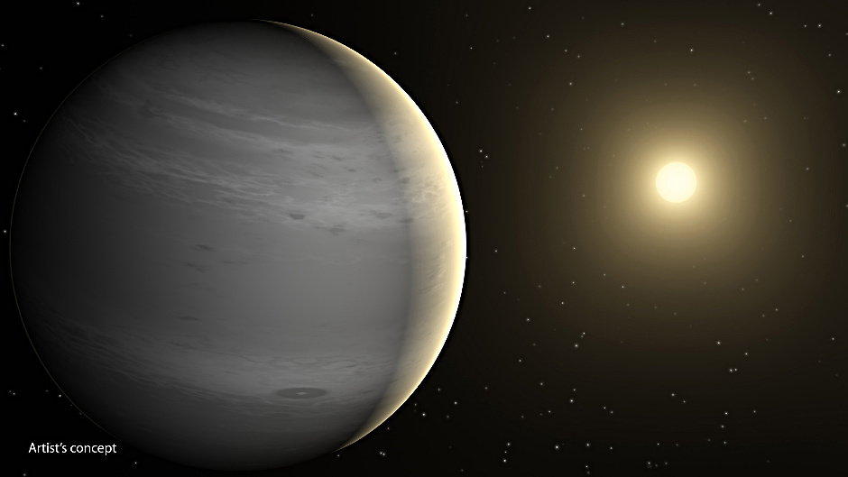 This artist's concept depicts a proposed helium-atmosphere planet called GJ436b, which was found by NASA's Spitzer Space Telescope to lack in methane — a first clue about its lack of hydrogen. The planet orbits every 2.6 days around its star, which is cooler than our Sun and thus appears more yellow-orange in colour. Image credit: NASA/JPL-Caltech.
