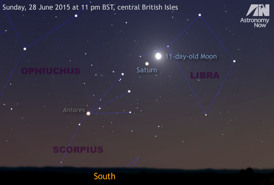 In the dusk twilight of Sunday, 28 June, around 11pm BST, ringed planet Saturn and the waxing gibbous 11-day-old Moon will lie just two degrees apart in the constellation Libra. This graphic depicts the southern horizon aspect in a view that is 45 degrees wide, or twice the span of an outstretched hand at arm's length for scale. Antares, the first-magnitude zodiacal star that is the brightest in the constellation Scorpius, lies 12.7 degrees (slightly more than the span of a fist at arm's length) to the lower left of Saturn this night. AN graphic by Ade Ashford.