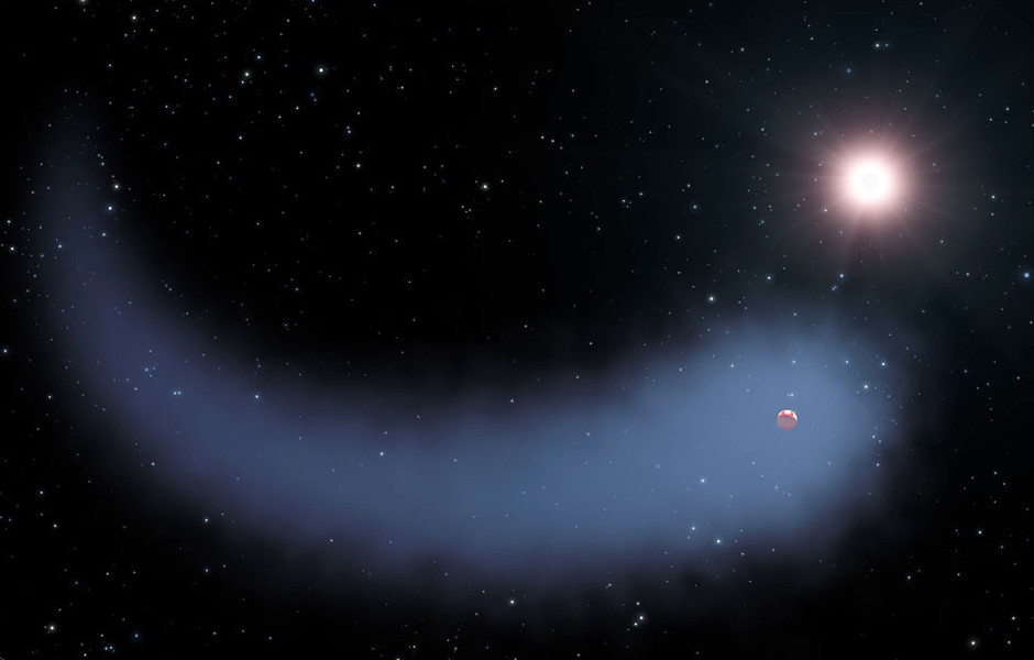 This artist's concept shows the enormous comet-like cloud of hydrogen bleeding off of the warm, Neptune-sized planet Gliese436b just 30 light-years from Earth. Also depicted is the parent star, which is a faint red dwarf named Gliese436. The hydrogen is evaporating from the planet due to extreme radiation from the star. A phenomenon this large has never before been seen around any exoplanet. Image credit: NASA, ESA, STScI, and G. Bacon.