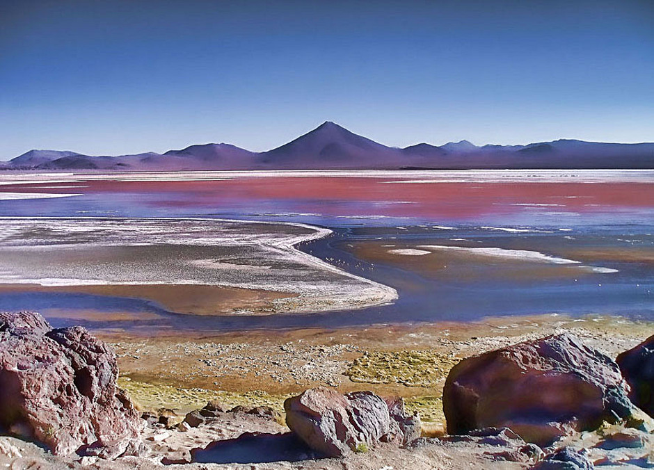 Laguna Colorada is a shallow salt lake in the southwest of Bolivia. One of several places on Earth whose colours are affected by nonphotosynthetic pigments. University of Washington doctoral student Eddie Schwieterman has published research on how such nonphotosynthetic biosignatures might appear on exoplanets, or those outside our Solar System. Image credit: Noemí Galera.