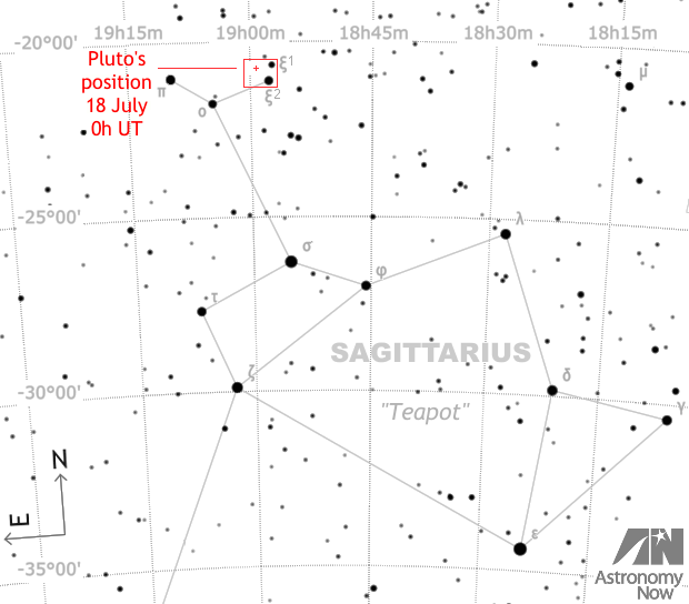 This wide-field Pluto finder chart showing the constellation Sagittarius is 20 degrees wide (approximately the span of an outstretched hand at arm's length) and depicts the region of sky containing Pluto close to the time of my astrophotographic attempt, the contents of the red box shown in the image below. The curved horizontal dotted lines represent parallels of declination that are five degrees apart. Stars down to magnitude +8 are shown. AN graphic by Ade Ashford.