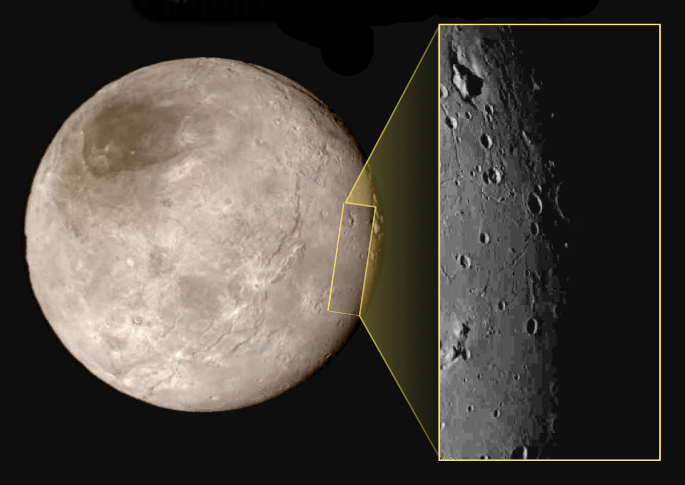 This new image of an area on Pluto's largest moon Charon has a captivating feature — a depression with a peak in the middle, shown here in the upper left corner of the inset. The image shows an area approximately 240 miles (390 kilometres) from top to bottom, including few visible craters. The image was taken at approximately 10:30 UTC (11:30am BST) on 14 July 2015, about 1.5 hours before closest approach to Pluto, from a range of 49,000 miles (79,000 kilometres). Image credits: NASA-JHUAPL-SwRI.