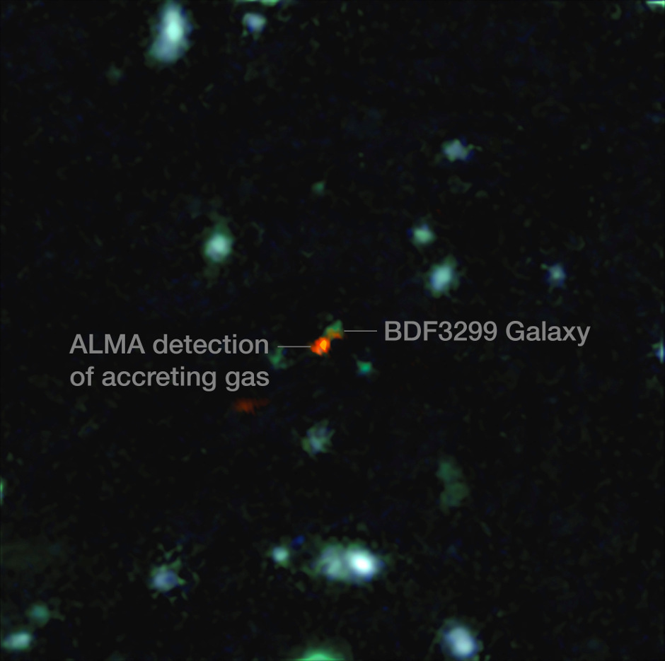 This view is a combination of images from ALMA and the Very Large Telescope. The central object is a very distant galaxy, labelled BDF3299, which is seen when the universe was less than 800 million years old. The bright red cloud just to the lower left is the ALMA detection of a vast cloud of material that is in the process of assembling the very young galaxy. Image credit: ESO/R. Maiolino.