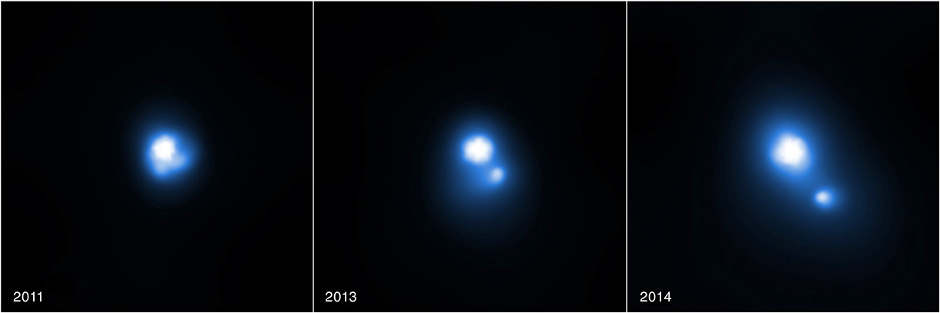 This trio of images contains evidence from NASA's Chandra X-ray Observatory that a clump of stellar material has been jettisoned away from the double star system PSR B1259-63/LS 2883 at incredibly high speeds. Image credit: X-ray: NASA/CXC/PSU/G.Pavlov et al.