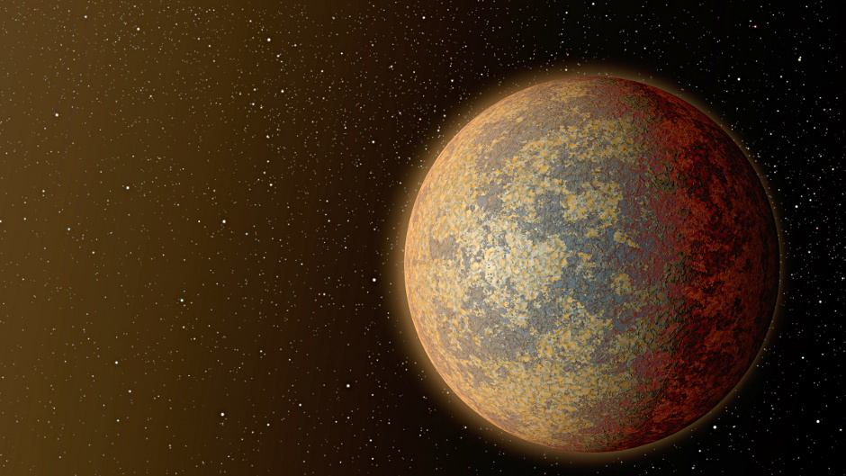 This artist's rendition shows one possible appearance for the planet HD 219134b, the nearest confirmed rocky exoplanet found to date outside our solar system. The planet is 1.6 times the size of Earth, and whips around its star in just three days. Scientists predict that the scorching-hot planet   known to be rocky through measurements of its mass and size   would have a rocky, partially molten surface with geological activity, including possibly volcanoes. Image credits: NASA/JPL-Caltech.