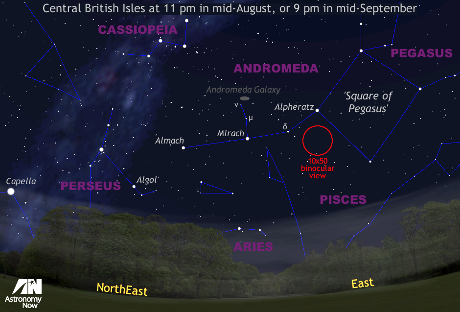 Mid-August is open season for the Andromeda Galaxy, or M31 — arguably one of the best deep-sky objects for Northern Hemisphere observers. This is a quadrant of the sky centred on the east-northeast horizon as seen from the UK at 11pmBST on 15 August, or 9pm by the middle of September. The view is 90 degrees wide, or four times the span of an outstretched hand at arm's length. The red circle represents the field of view of a typical 10x50 binocular for scale. AN graphic by AdeAshford.
