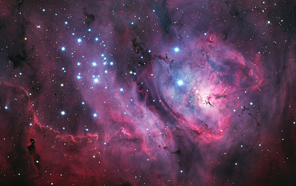 Situated some 5,000 light-years away, the stellar nursery of the Lagoon Nebula lies in the constellation of Sagittarius. Despite being so far away, the Lagoon Nebula is in fact one of the few star-forming nebulae that it is possible to see with the naked eye in optimum conditions from mid-northern and southern latitudes. Image credit: © László Francsics / Royal Museums Greenwich. (Click image for full-size version.)