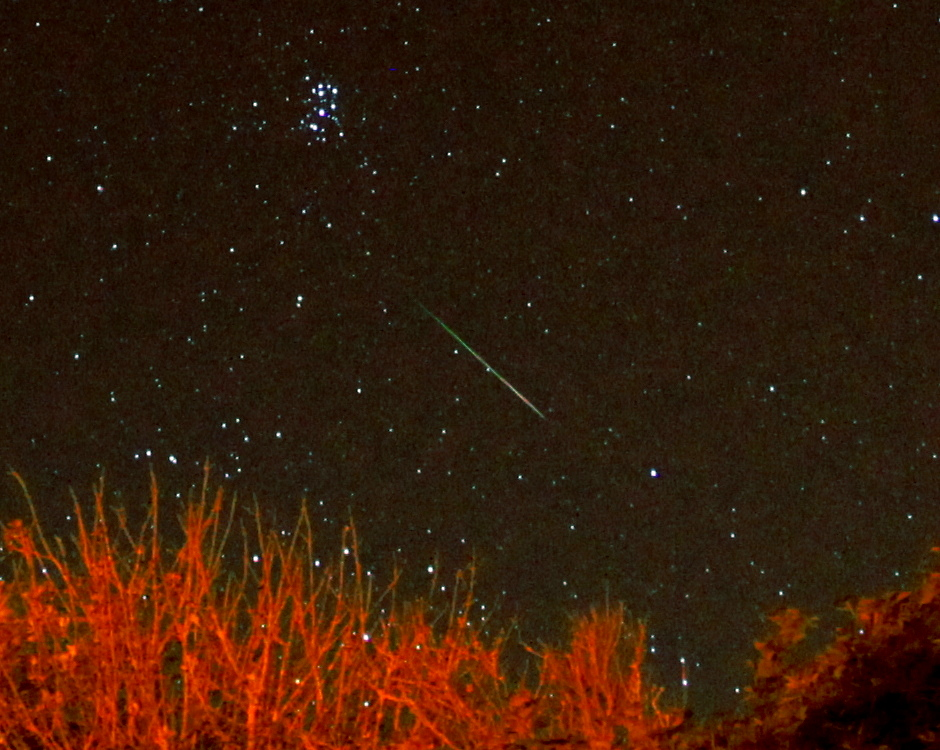 A Perseid shooting star near the Pleiades over Woodingdean, Sussex, on the early morning of the 13 August 2013. Image credit: Darren Baskill.