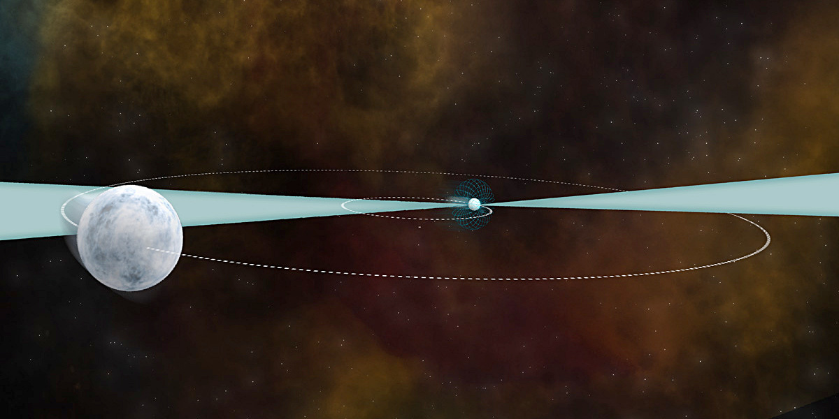 A 21-year study of a pair of ancient stars — one a pulsar and the other a white dwarf — helps astronomers understand how gravity works across the cosmos. The study was conducted with the NSF's Green Bank Telescope and the Arecibo Observatory. Image credit: B. Saxton (NRAO/AUI/NSF).