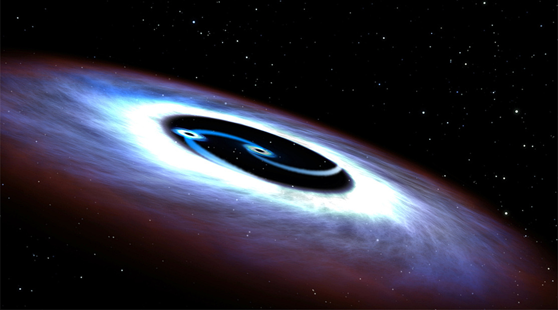 This artistic illustration is of a binary black hole found in the centre of the nearest quasar to Earth, Markarian 231. The binary black holes are predicted to spiral together and collide within a few hundred thousand years. Mrk 231 is located 600 million light-years away. Image credits: NASA, ESA, and G. Bacon (STScI).