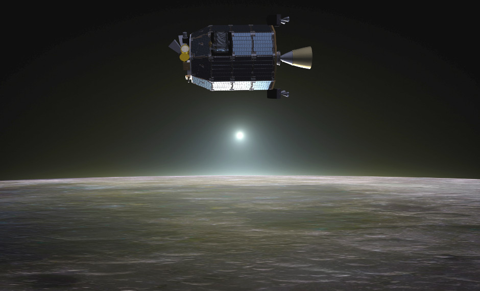 Artist's concept of NASA's Lunar Atmosphere and Dust Environment Explorer (LADEE) spacecraft in orbit above the Moon. Image credits: NASA Ames / Dana Berry.