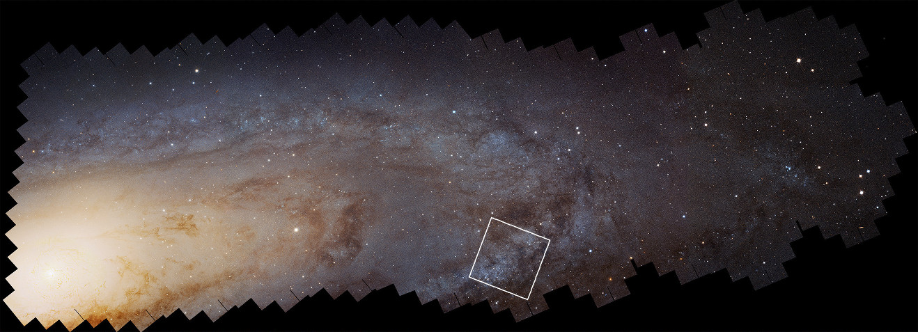 This is a Hubble Space Telescope mosaic of 414 photographs of the nearest major galaxy to our MilkyWay, the Andromeda Galaxy (M31). The vast panorama was assembled from nearly 8,000 separate exposures taken in near-ultraviolet, visible, and near-infrared light. Embedded within this view are 2,753 star clusters. The view is 61,600 light-years across and contains images of 117million stars in the galaxy's disc. An enlargement of the boxed field is shown below. Image credit: NASA, ESA, J. Dalcanton, B.F. Williams, and L.C. Johnson (University of Washington), the PHAT team, and R. Gendler.
