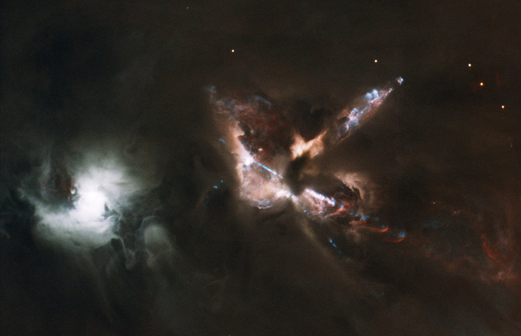 The HH 24 jet complex emanates from a dense cloud core that hosts a small multiple protostellar system known as SSV63. The nebulous star to the south (left) is the visible T Tauri star SSV59. Composite colour picture based on images obtained with GMOS on Gemini North in 0.5 arcsecond seeing, and NIRI. Field of view is 3.3x5.1 arcminutes, orientation: north right, east up. Image credit: Gemini Observatory/AURA/B. Reipurth, C. Aspin, Travis Rector.