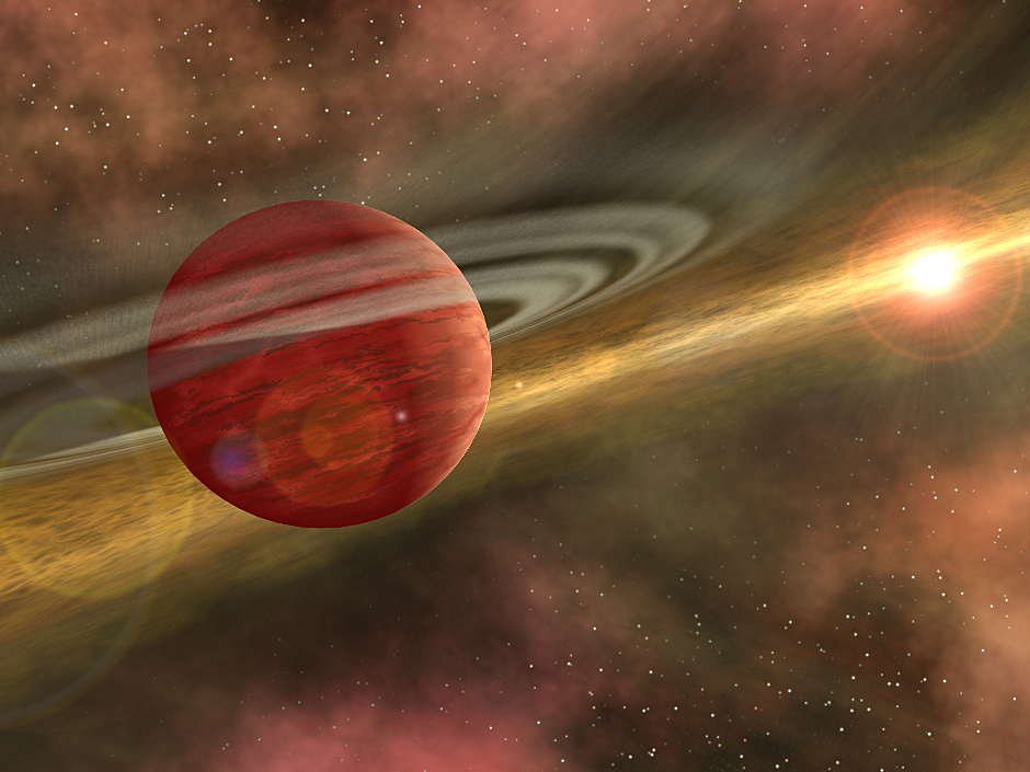 An artist's impression of a gas giant planet in formation within the protoplanetary disc of a young star. Image credit: NASA/ JPL.