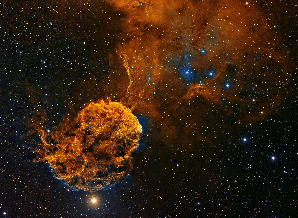 Lying in the constellation of Gemini, IC443 is a galactic supernova remnant, a star that could have exploded as many as 30,000 years ago. Its globular appearance has earned the celestial structure the moniker of the Jellyfish Nebula. Image credit: © PatrickGilliland / RoyalMuseumsGreenwich.