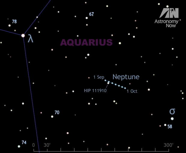 Once you have located magnitude +3.7 lambda (λ) Aquarii and magnitude +4.8 sigma (σ) Aquarii from the wide-field chart, this zoomed-in narrow-field view will make locating planet Neptune easy. The scalebar at the bottom is 300 arcminutes, or five degrees, wide — the field of view of a typical 10x50 binocular. The track of Neptune against the background stars throughout September 2015 is shown. Note that the planet passes close to magnitude +6.9 star HIP 111910 on the night of 5/6 September. Stars as faint as magnitude +10 are shown. AN graphic by Ade Ashford.