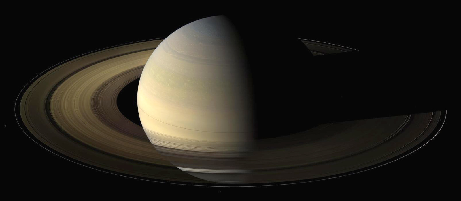 The planet Saturn, viewed by NASA's Cassini spacecraft during its 2009 equinox. Data on how the rings cooled during this time provide insights about the nature of the ring particles. Image credit: NASA/JPL/Space Science Institute.