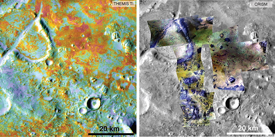Researchers estimating the amount of carbon held in the ground at the largest known carbonate deposit on Mars used data from five instruments on three NASA Mars orbiters, including physical properties from THEMIS (left) and mineral information from CRISM (right). Each image in this pair covers the same area about 36 miles (58 kilometres) wide in the Nili Fossae plains region of Mars' northern hemisphere. The tally of carbon content in the rocks of this region is a key piece in solving a puzzle of how the Martian atmosphere has changed over time. Image credit: NASA/JPL-Caltech/ASU/JHUAPL.