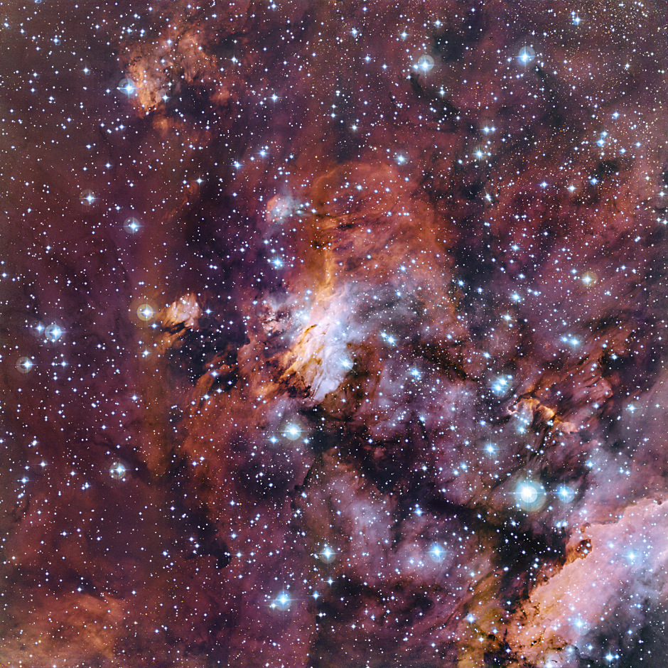 The rich patchwork of gas clouds in this new image make up part of a huge stellar nursery nicknamed the Prawn Nebula (also known as Gum 56 and IC 4628). Taken using the MPG/ESO 2.2-metre telescope at the La Silla Observatory in Chile, this may well be one of the best pictures ever taken of this object. It shows clumps of hot new-born stars nestled in among the clouds that make up the nebula. Image credit: ESO.