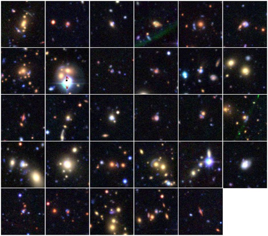 Twenty-nine gravitational lens candidates found through SpaceWarps. Image credit: SpaceWarps, Canada-France-Hawaii Telescope Legacy Survey.