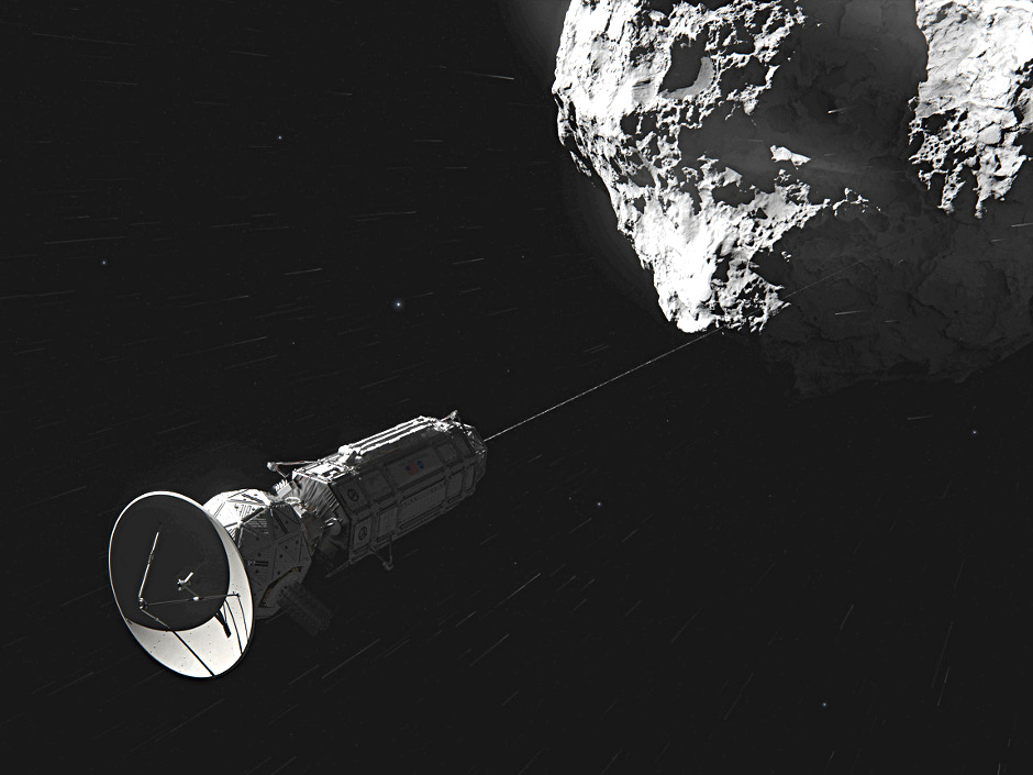 This artist concept shows Comet Hitchhiker, an idea for traveling between asteroids and comets using a harpoon and tether system. Image credits: NASA/JPL-Caltech/Cornelius Dammrich.