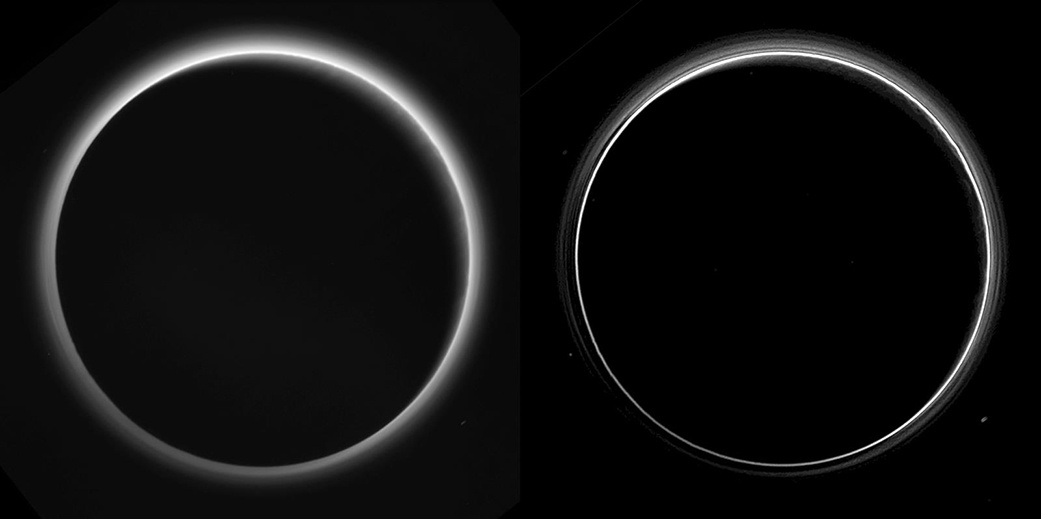 Two different versions of an image of Pluto's haze layers, taken by New Horizons as it looked back at Pluto's dark side nearly 16 hours after close approach, from a distance of 480,000 miles (770,000 kilometres), at a phase angle of 166 degrees. Pluto's north is at the top, and the Sun illuminates Pluto from the upper right. These images are much higher quality than the digitally compressed images of Pluto's haze downlinked and released shortly after the 14 July encounter, and allow many new details to be seen. The left version has had only minor processing, while the right version has been specially processed to reveal a large number of discrete haze layers in the atmosphere. In the left version, faint surface details on the narrow sunlit crescent are seen through the haze in the upper right of Pluto's disc, and subtle parallel streaks in the haze may be crepuscular rays- shadows cast on the haze by topography such as mountain ranges on Pluto, similar to the rays sometimes seen in the sky after the Sun sets behind mountains on Earth. Image credits: NASA/Johns Hopkins University Applied Physics Laboratory/Southwest Research Institute.