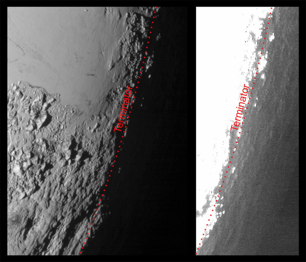 This image of Pluto from NASA's New Horizons spacecraft, processed in two different ways, shows how Pluto's bright, high-altitude atmospheric haze produces a twilight that softly illuminates the surface before sunrise and after sunset, allowing the sensitive cameras on New Horizons to see details in nighttime regions that would otherwise be invisible. The right-hand version of the image has been greatly brightened to bring out faint details of rugged haze-lit topography beyond Pluto's terminator, which is the line separating day and night. The image was taken as New Horizons flew past Pluto on 14 July 2015, from a distance of 50,000 miles (80,000 kilometres). Image credits: NASA/Johns Hopkins University Applied Physics Laboratory/Southwest Research Institute.