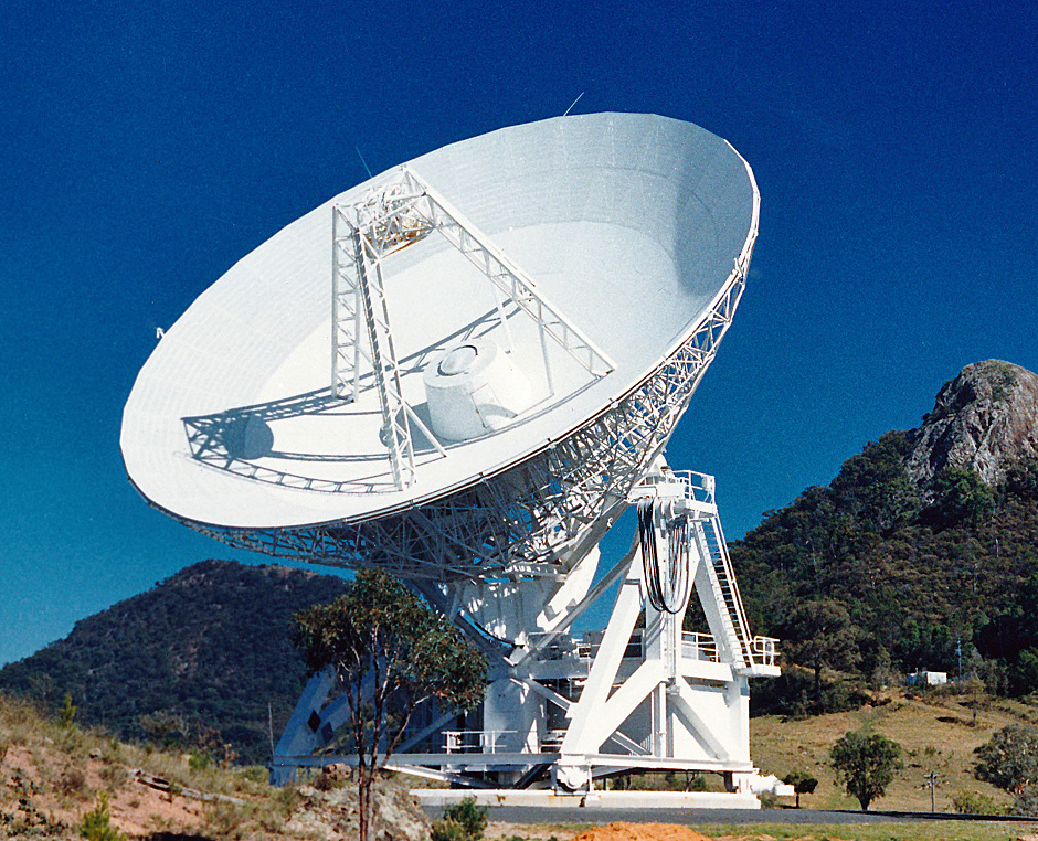 The Three-mm Ultimate Mopra Milky Way Survey (ThrUMMS) was conducted using this instrument. The Mopra Telescope is a 22-metre single-dish radio telescope located at the edge of the Warrumbungle Mountains near Coonabarabran, about 450 kilometres northwest of Sydney. It is operated by CSIROs Astronomy and Space Science division. Image credit: CSIRO / CC BY 3.0.