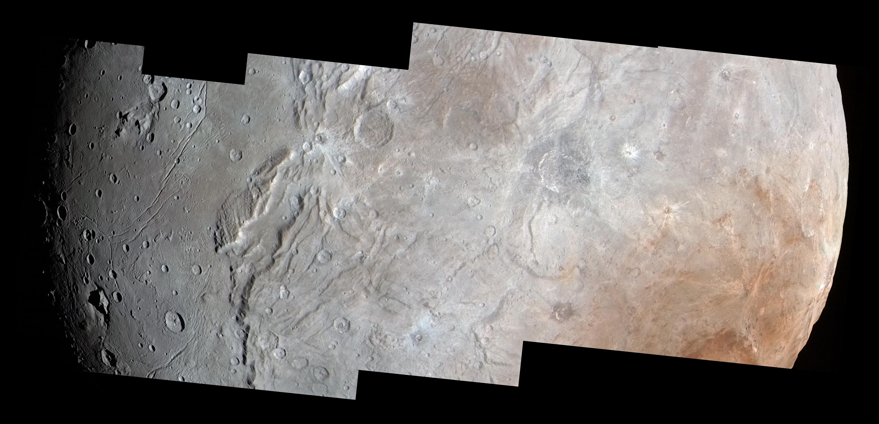 High-resolution images of Charon were taken by the Long Range Reconnaissance Imager (LORRI) on NASA's New Horizons spacecraft, shortly before closest approach on 14 July 2015, and overlaid with enhanced colour from the Ralph/Multispectral Visual Imaging Camera (MVIC). Charon's cratered uplands at the right are broken by series of canyons, and replaced on the left (south) by the rolling plains of the informally named Vulcan Planum. The scene covers Charon's width of 754 miles (1,214 kilometres) and resolves details as small as 0.5 miles (0.8 kilometres). North is to the right. (Click to view full-size picture). Image credit: NASA/Johns Hopkins University Applied Physics Laboratory/Southwest Research Institute.