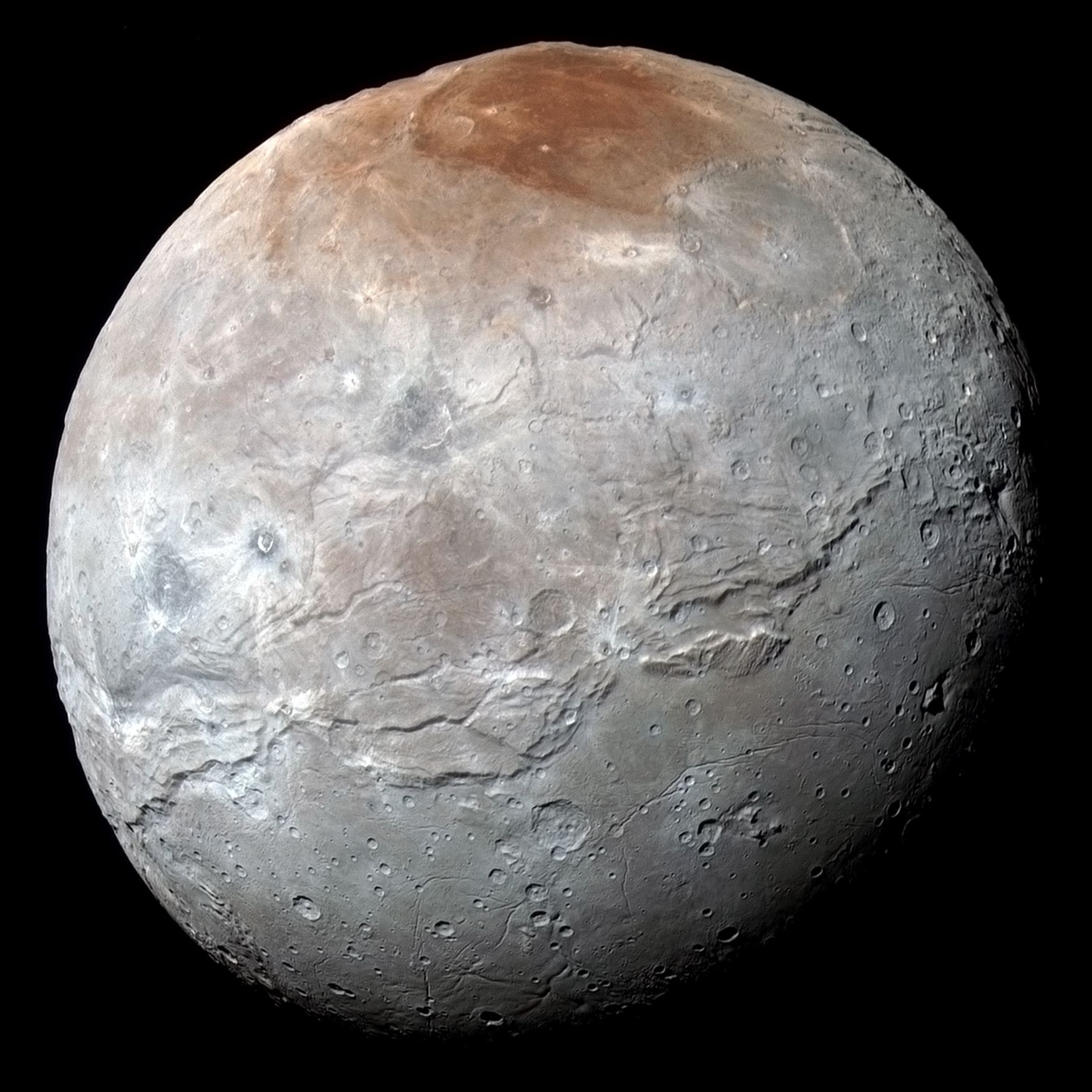 NASA's New Horizons captured this high-resolution enhanced colour view of Charon just before closest approach on 14 July 2015 and transmitted to Earth on 21 September. The image combines blue, red and infrared images taken by the spacecraft's Ralph/Multispectral Visual Imaging Camera (MVIC); the colours are processed to best highlight the variation of surface properties across Charon. Charon's colour palette is not as diverse as Pluto's; most striking is the reddish north (top) polar region, informally named Mordor Macula. Charon is 754 miles (1,214 kilometres) across; this image resolves details as small as 1.8 miles (2.9 kilometres). Image credit: NASA/Johns Hopkins University Applied Physics Laboratory/Southwest Research Institute.