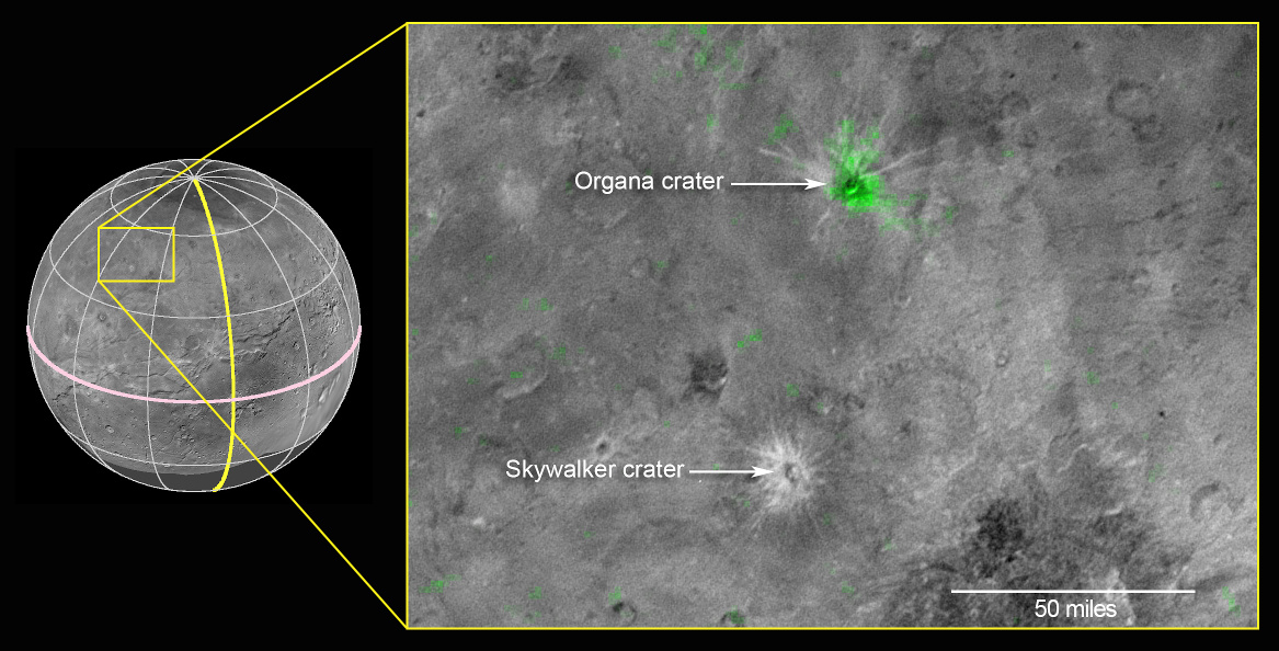 This composite image is based on observations from the New Horizons Ralph/LEISA instrument made at 10:25 UT on 14 July 2015, when New Horizons was 50,000 miles (81,000 kilometres) from Charon. The spatial resolution is 3 miles (5 kilometres) per pixel. The LEISA data were downlinked 1-4 October 2015, and processed into a map of Charon's 2.2 micron ammonia-ice absorption band. Long Range Reconnaissance Imager (LORRI) panchromatic images used as the background in this composite were taken about 8:33 UT on 14 July 14 at a resolution of 0.6 miles (0.9 kilometres) per pixel and downlinked 5-6 October. The ammonia absorption map from LEISA is shown in green on the LORRI image. The region covered by the yellow box is 174 miles across (280 kilometres). Image credits: NASA/JHUAPL/SwRI.