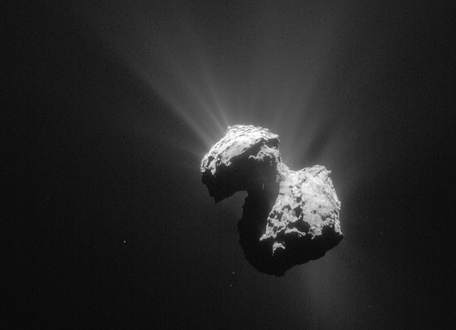 This single frame Rosetta navigation camera image of Comet 67P/Churyumov-Gerasimenko was taken on 7 July 2015 from a distance of 154 kilometres (96 miles) from the comet's centre. The image has a resolution of 13.1 metres/pixel and measures 13.4 kilometres across. Image credit: ESA/Rosetta/NAVCAM.
