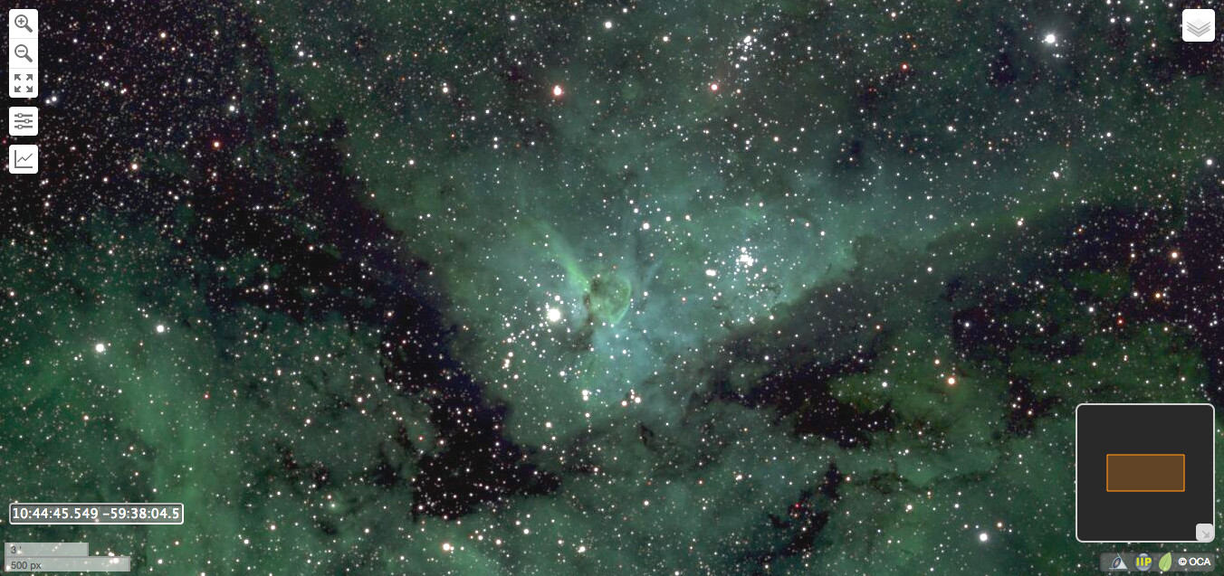 This is a zoomed-in section of the 46 billion-pixel Milky Way picture depicting the Eta Carinae Nebula. An online tool provided by astronomers at the Ruhr-Universität Bochum (RUB) permits users to navigate the huge image by named object or celestial coordinates, zoom in or out, or apply specific filters. Image credit: Lehrstuhl für Astrophysik, RUB. AN screen capture by Ade Ashford.