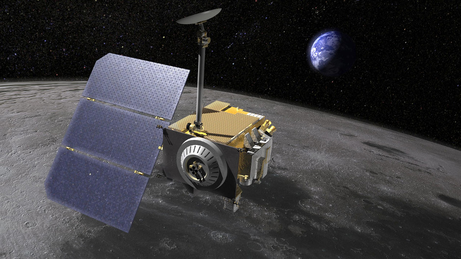 An artist's impression of NASA's Lunar Reconnaissance Orbiter. Launched on 18 June 2009, the spacecraft is not only conducting a detailed mapping program to identify safe landing sites and locate potential resources on the Moon, but has also provided evidence for considerable quantities of water and hydroxyl groups in the near-surface lunar soil. Image credit: NASA.