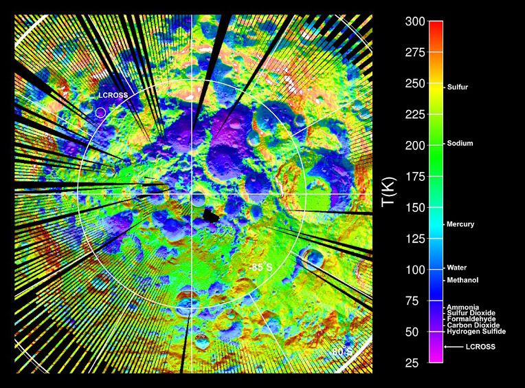 Temperature of the surface around the southern pole of the Moon according to NASA's Lunar Reconnaissance Orbiter data. Image credit: © NASA.