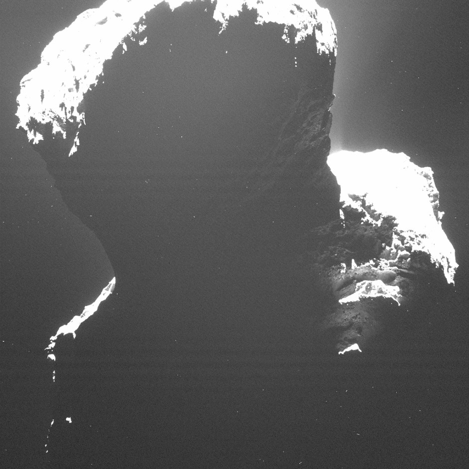 This image of the southern polar regions of comet 67P/Churyumov-Gerasimenkotaken was taken by Rosetta's Optical, Spectroscopic, and Infrared Remote Imaging System (OSIRIS) on 29 September 2014, when the comet was still experiencing the long southern winter. Image credits: ESA/Rosetta/MPS for OSIRIS Team.