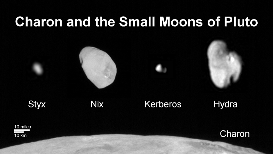This composite image shows a sliver of Pluto's large moon, Charon, and all four of Pluto's small moons, as resolved by the Long Range Reconnaissance Imager (LORRI) on the New Horizons spacecraft. All the moons are displayed with a common intensity stretch and spatial scale (see scale bar). Charon is by far the largest of Pluto's moons, with a diameter of 751 miles (1,212 kilometres). Nix and Hydra have comparable sizes, approximately 25 miles (40 kilometres) across in their longest dimension above. Kerberos and Styx are much smaller and have comparable sizes, roughly 6-7 miles (10-12 kilometres) across in their longest dimension. All four small moons have highly elongated shapes, a characteristic thought to be typical of small bodies in the Kuiper Belt. Image credit: NASA/Johns Hopkins University Applied Physics Laboratory/Southwest Research Institute.