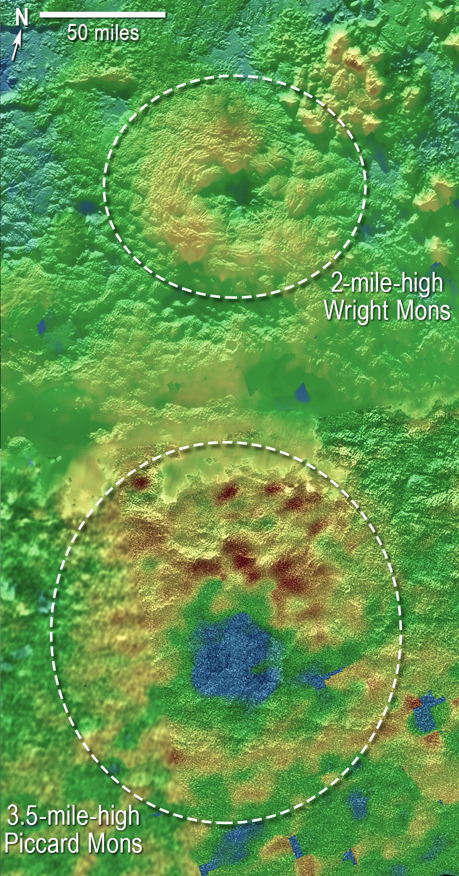 Scientists using New Horizons images of Pluto's surface to make 3-D topographic maps have discovered that two of Pluto's mountains, informally named Wright Mons and Piccard Mons, could possibly be ice volcanoes. The colour is shown to depict changes in elevation, with blue indicating lower terrain and brown showing higher elevation; green terrains are at intermediate heights. Image credit: NASA/Johns Hopkins University Applied Physics Laboratory/Southwest Research Institute.